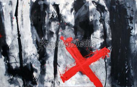 halt abstract acrylic painting on canvas