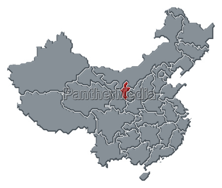 map of china ningxia highlighted