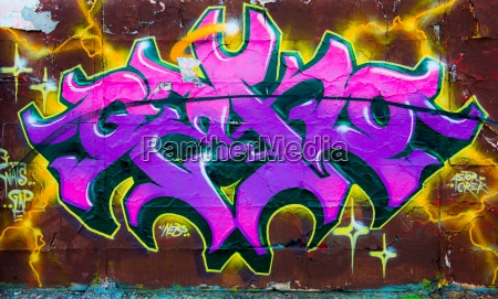 concrete letters purple daub graffiti grafitti