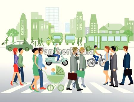 paisaje urbano con la gente que