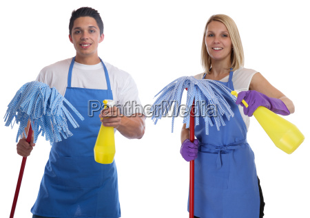 housekeeper brush clean cleaner professional woman
