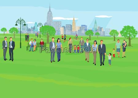 la gente libre en el parque