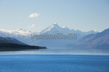 view across tranquil lake pukaki to