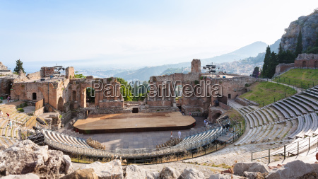 view of ancient teatro greco in