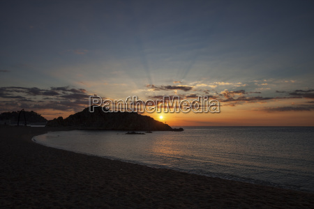 spain catalonia blanes sunrise at mediterranean