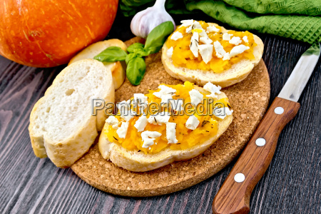 bruschetta with pumpkin and feta on