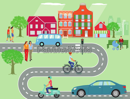 community with road traffic and people