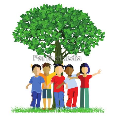 happy children around a tree