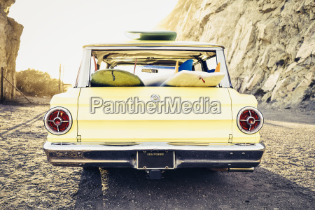 vintage station wagon at beach