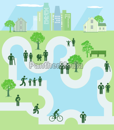 people in a parkiconillustration