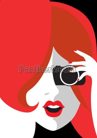 woman poster photo camera shoot card