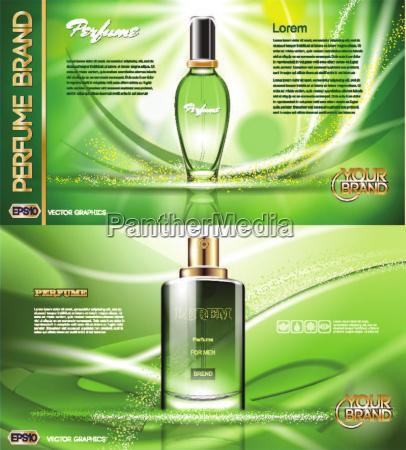 digital vector green glass perfume